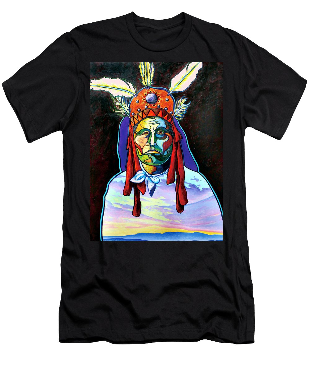 American Indian Men's T-Shirt (Athletic Fit) featuring the painting Shamans Power by Joe Triano