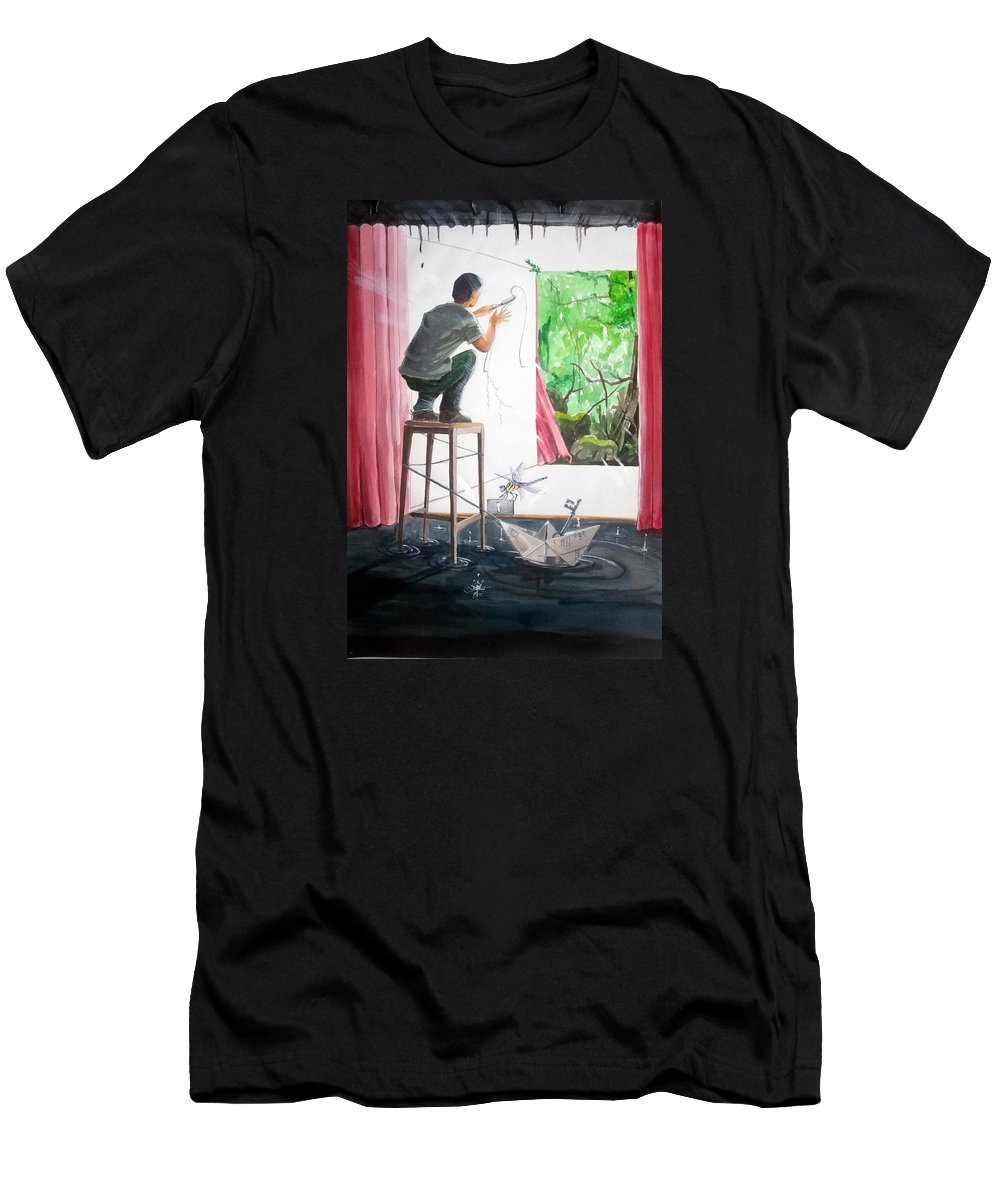 People Men's T-Shirt (Athletic Fit) featuring the painting Shaping The Peace Listen With Music Of The Description Box by Lazaro Hurtado