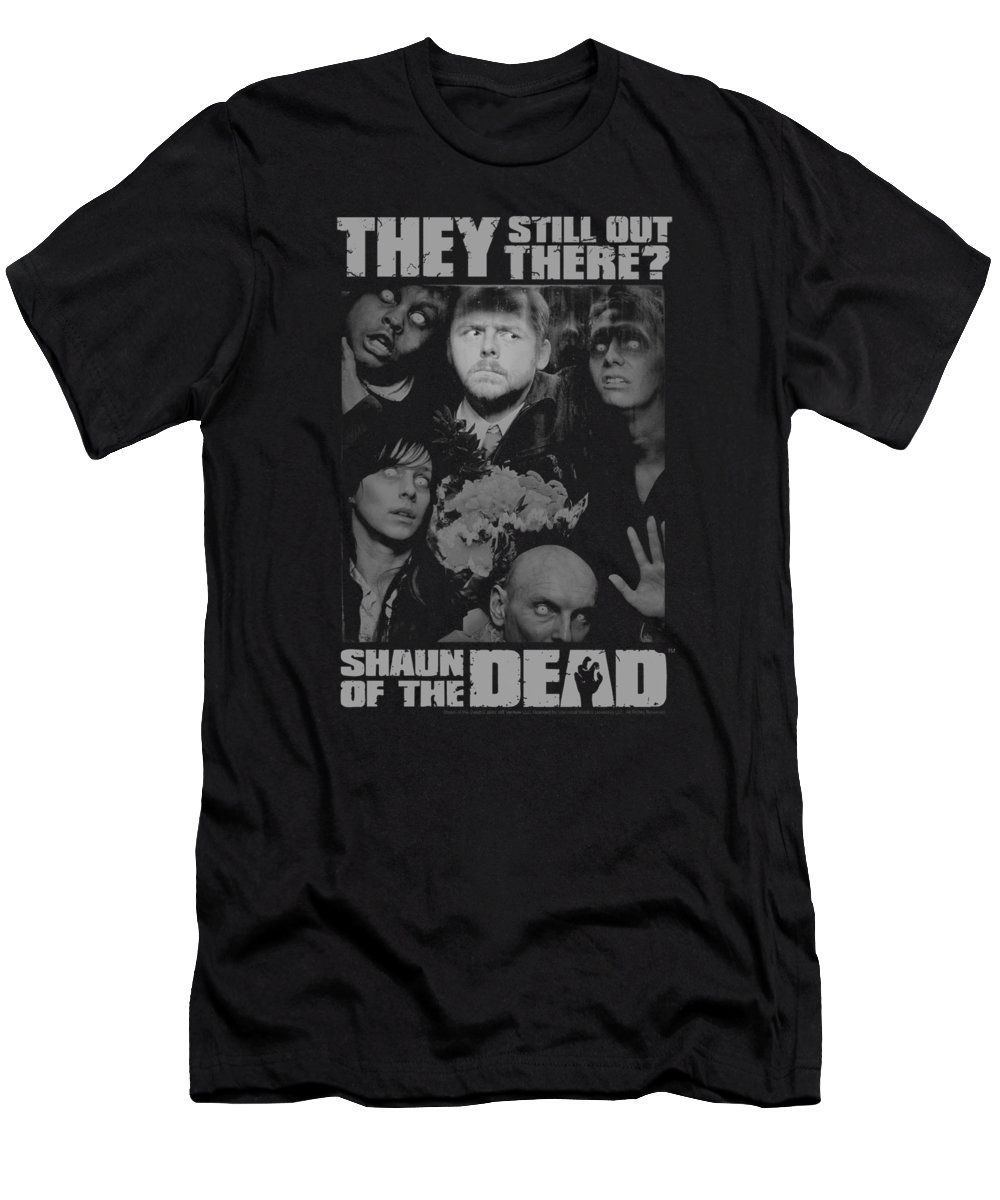 Shaun Of The Dead T-Shirt featuring the digital art Shaun Of The Dead - Still Out There by Brand A