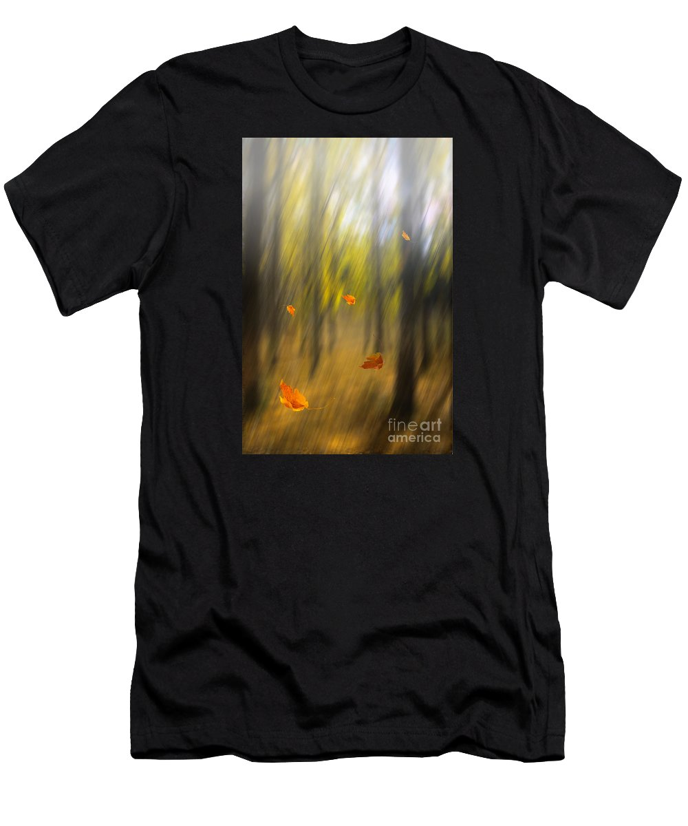 Art Men's T-Shirt (Athletic Fit) featuring the photograph Shed Leaves by Veikko Suikkanen