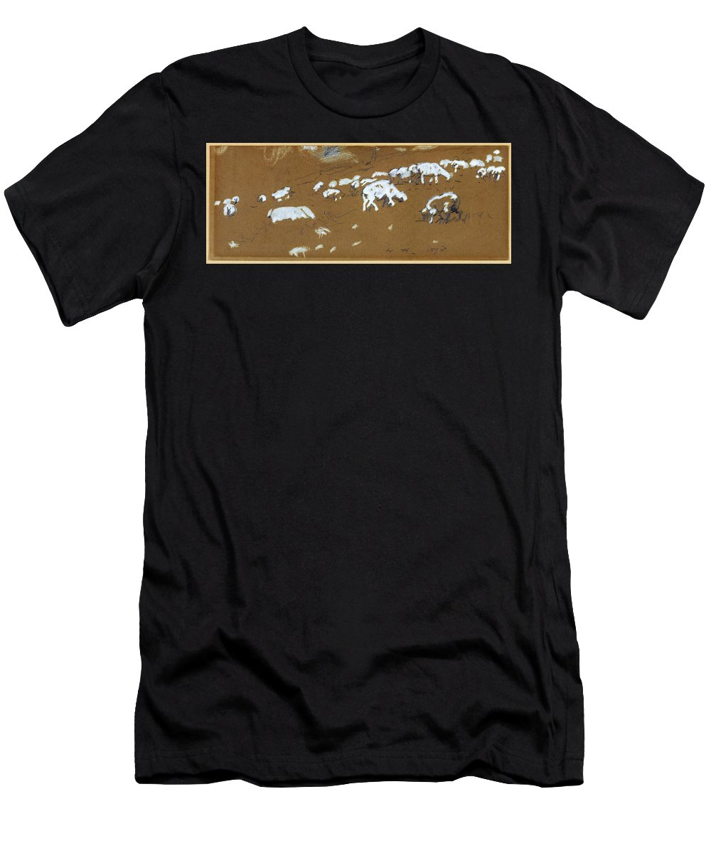 Winslow Homer Men's T-Shirt (Athletic Fit) featuring the drawing Sheep by Winslow Homer