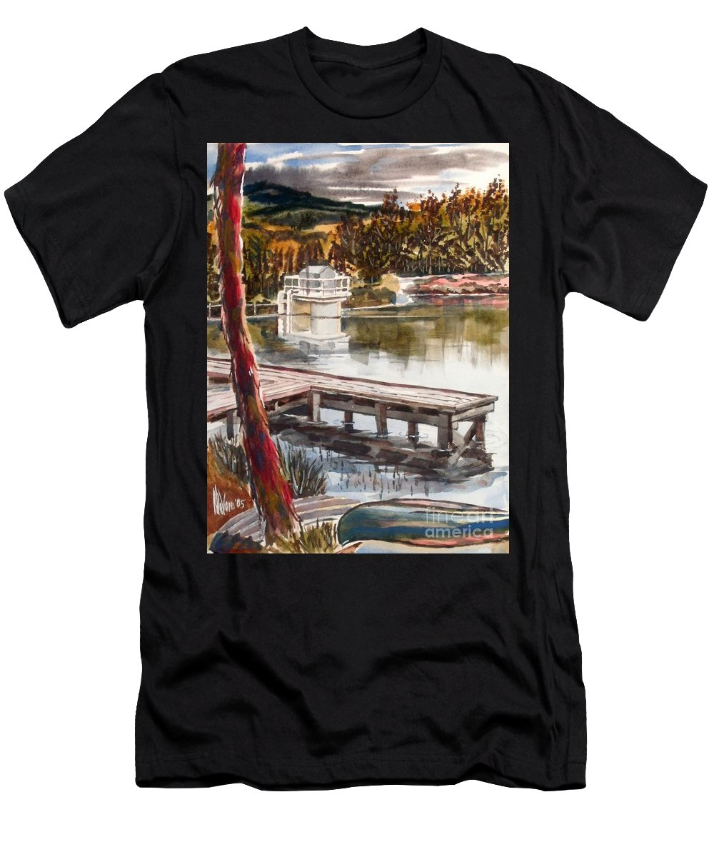 Shepherd Mountain Lake In Twilight Men's T-Shirt (Athletic Fit) featuring the painting Shepherd Mountain Lake In Twilight by Kip DeVore
