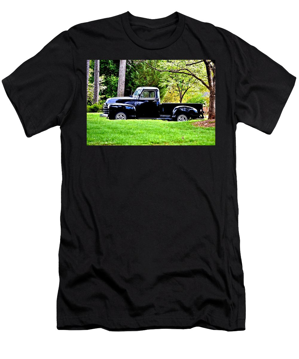Black Men's T-Shirt (Athletic Fit) featuring the photograph Shiny Black Pickup Truck by Tara Potts