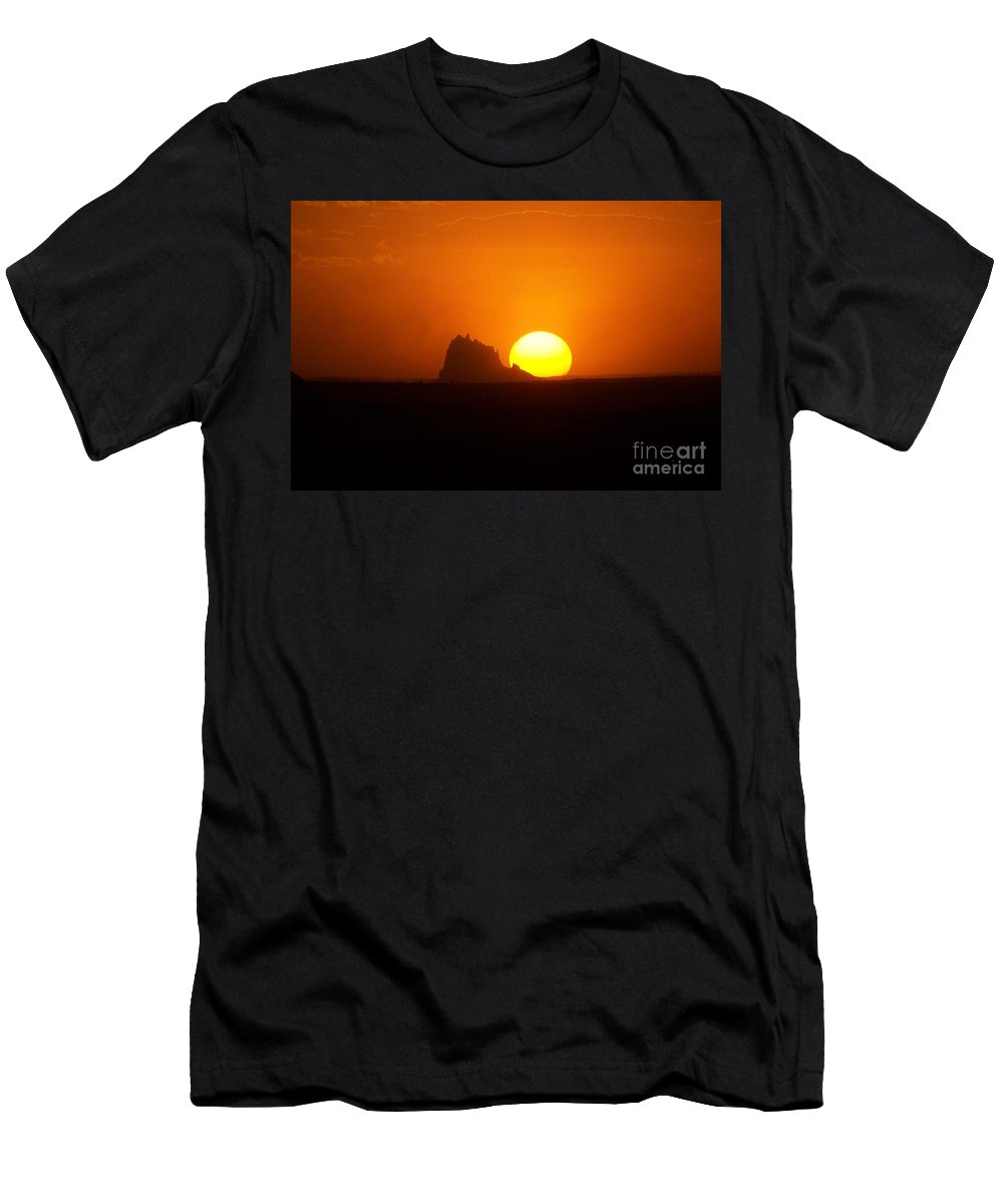 Shiprock Men's T-Shirt (Athletic Fit) featuring the photograph Shiprock Sunset by Jewell McChesney