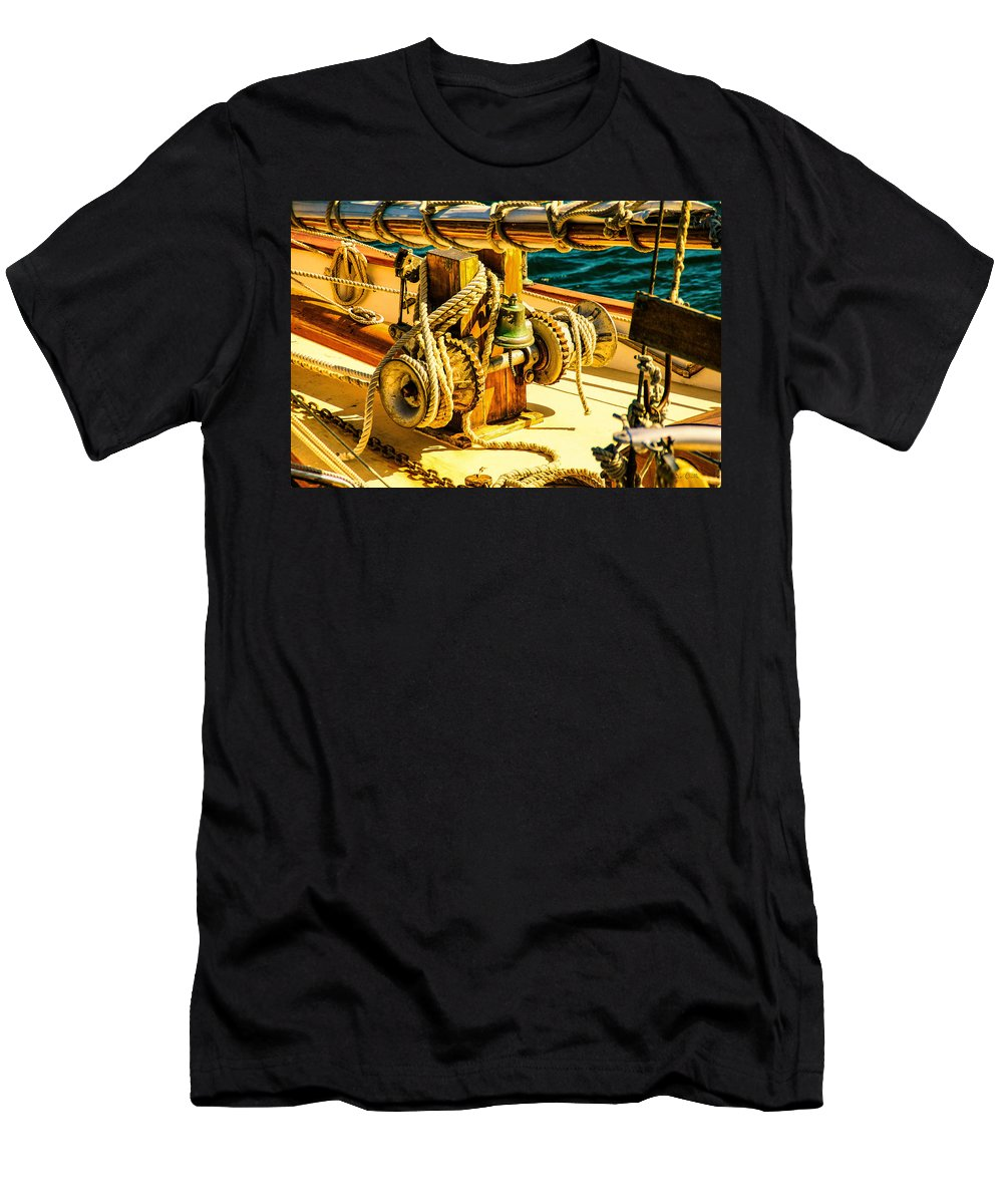 Bell Men's T-Shirt (Athletic Fit) featuring the photograph Ships Bell Sailboat by Bob Orsillo