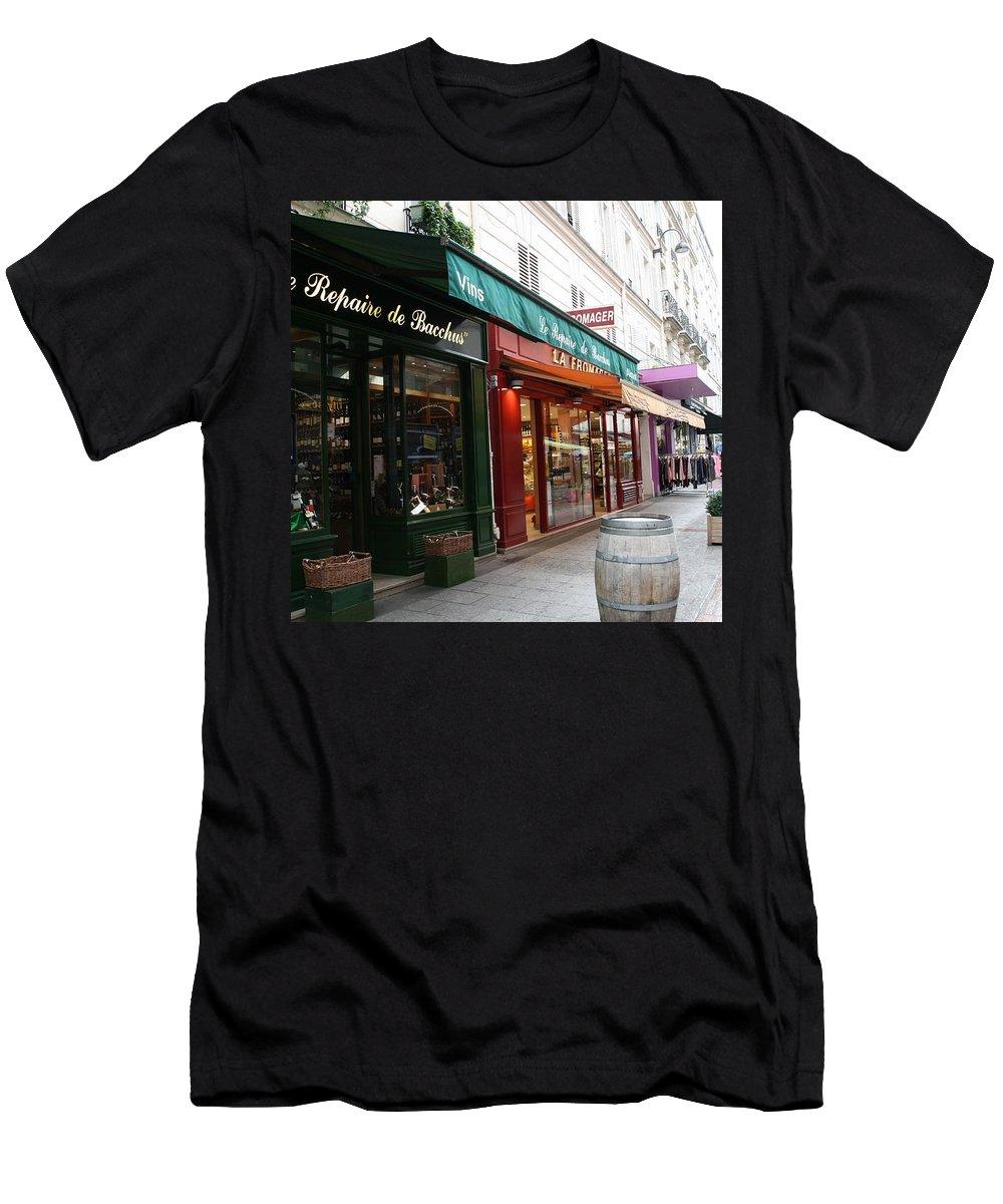 Paris Men's T-Shirt (Athletic Fit) featuring the photograph Shops On Rue Cler by Sue Lorenz