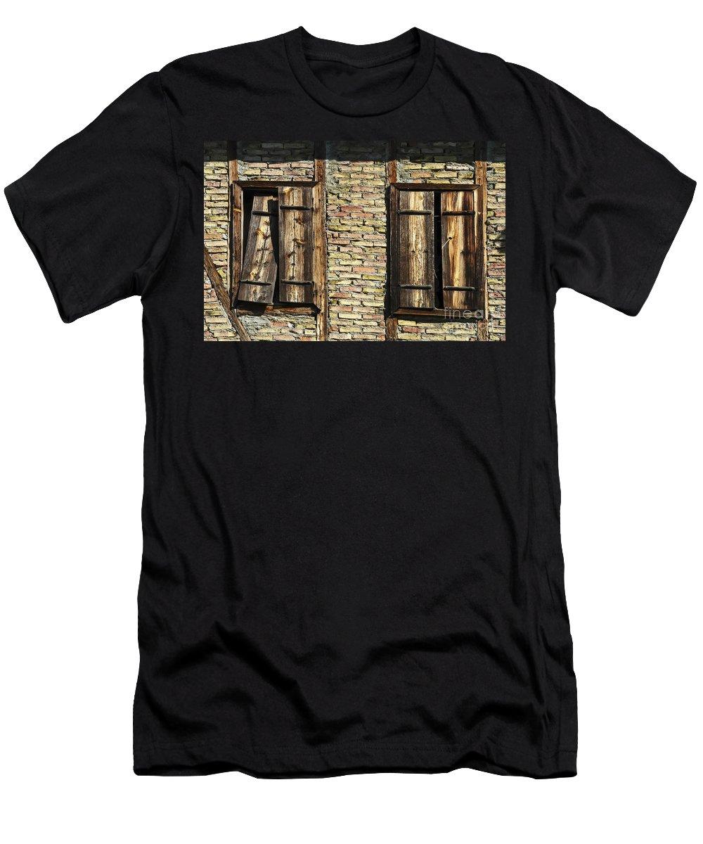 Ottoman House Houses Structure Structures Architecture Building Buildings Yoruk Village Safranbolu Turkey Window Windows Shutter Shutters Villages Men's T-Shirt (Athletic Fit) featuring the photograph Shuttered Windows by Bob Phillips