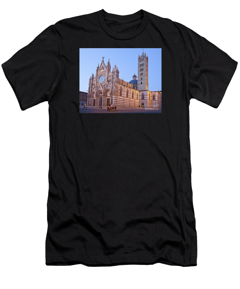 Marble Men's T-Shirt (Athletic Fit) featuring the photograph Siena Duomo At Sunset by Liz Leyden