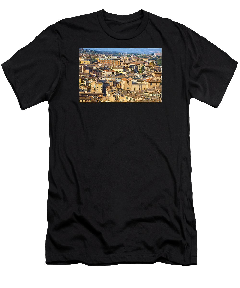 Siena Men's T-Shirt (Athletic Fit) featuring the photograph Siena Rooftops by Liz Leyden