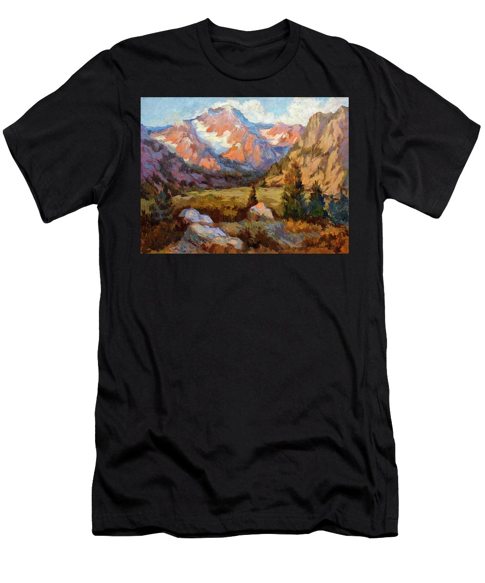 Sierra Nevada Mountains Men's T-Shirt (Athletic Fit) featuring the painting Sierra Nevada Mountains by Diane McClary