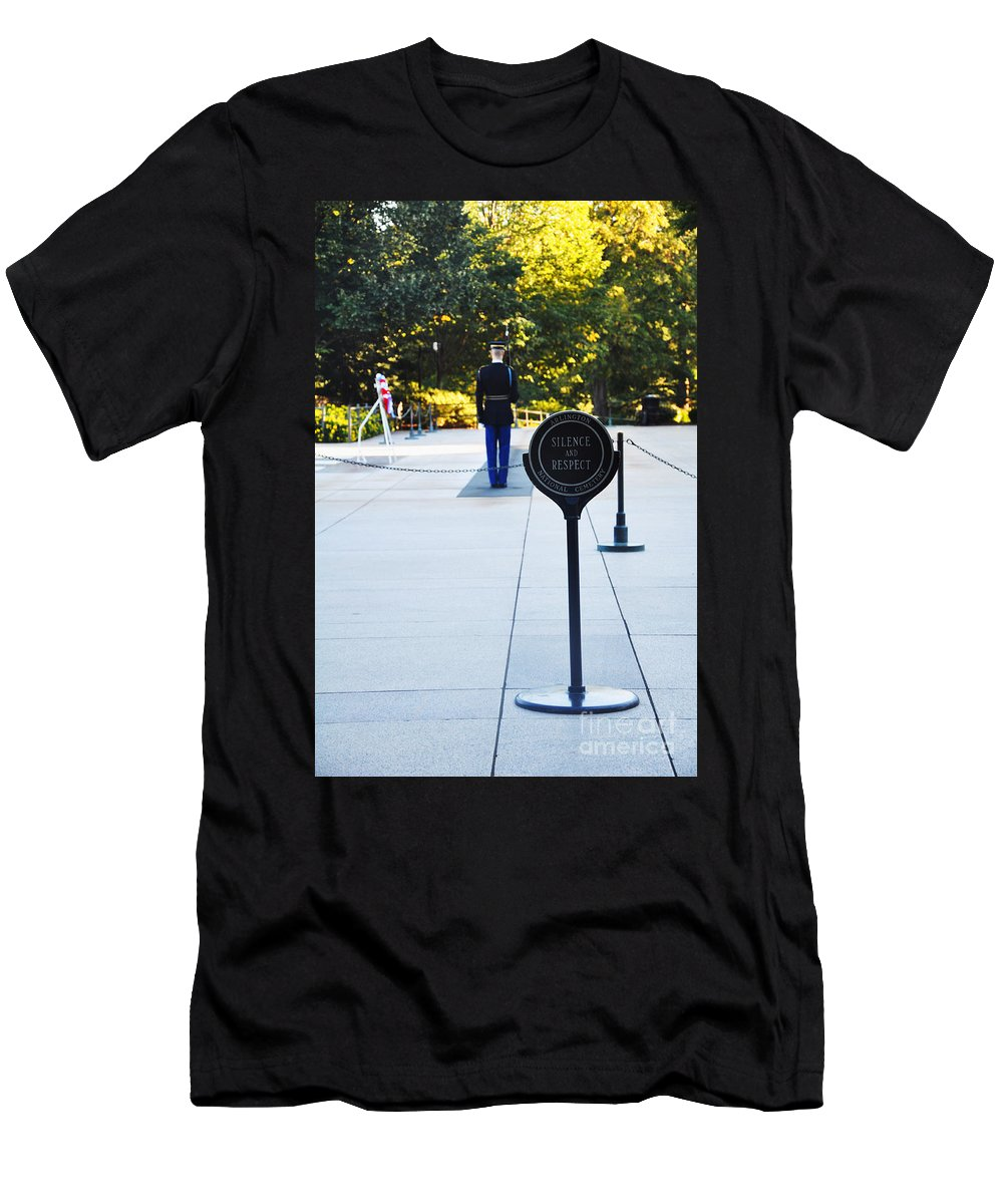 Tomb Of The Unknowns At Arlington National Cemetery Men's T-Shirt (Athletic Fit) featuring the photograph Silence by Brittany Horton