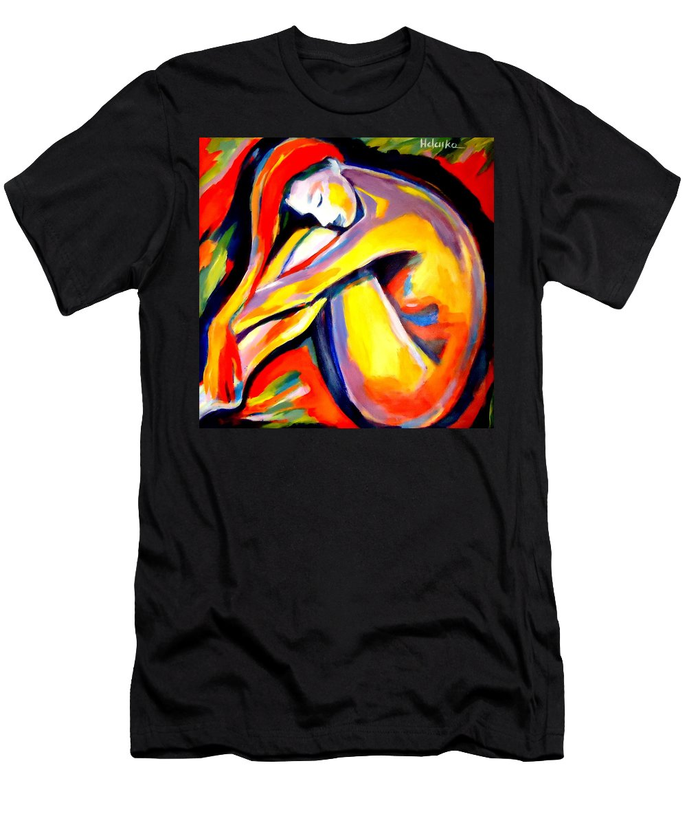 Nude Figures Men's T-Shirt (Athletic Fit) featuring the painting Silence by Helena Wierzbicki