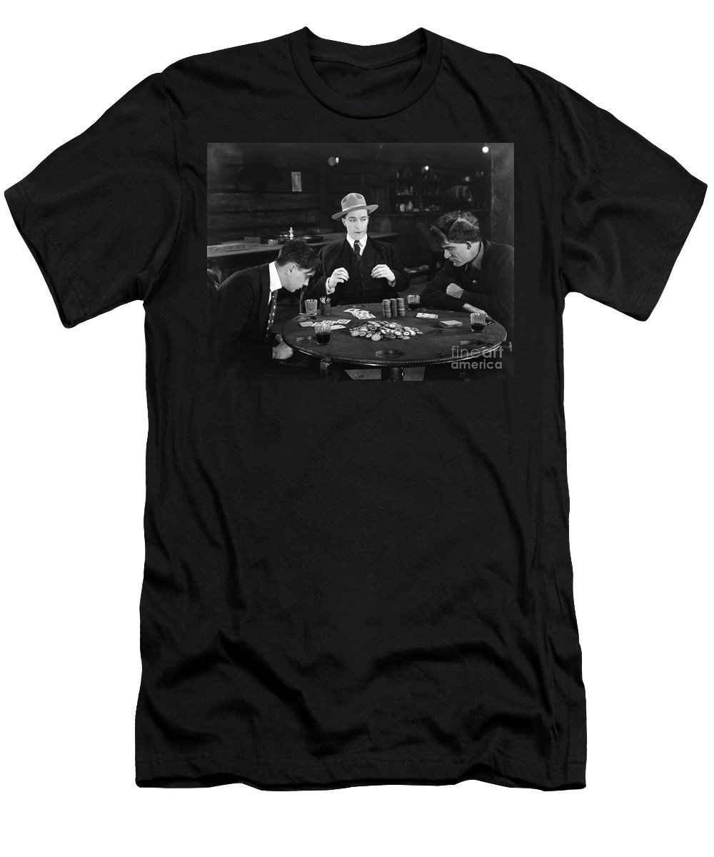 1910s Men's T-Shirt (Athletic Fit) featuring the photograph Silent Film Still: Gambling by Granger
