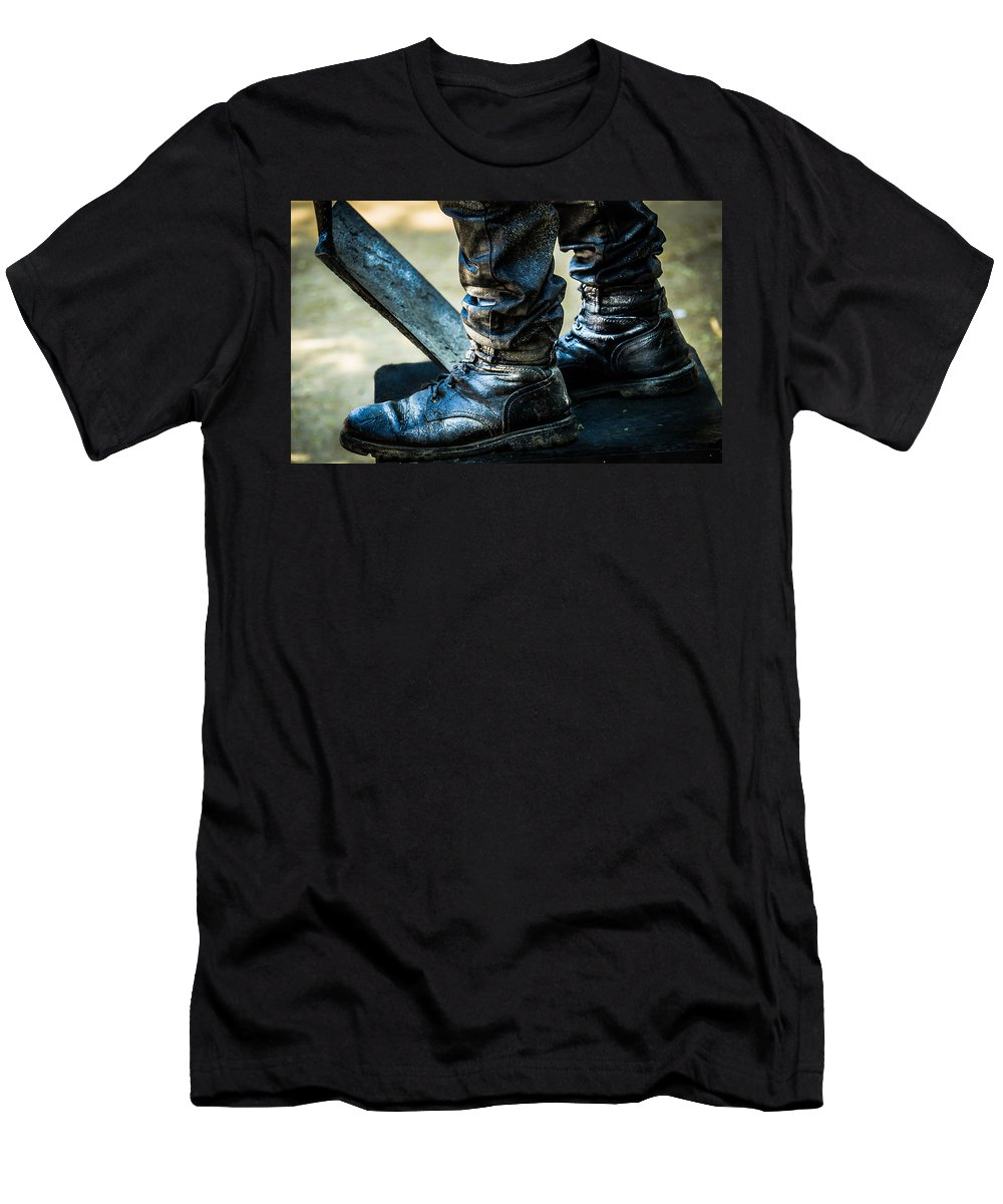 Silent Man Men's T-Shirt (Athletic Fit) featuring the photograph Silent Man IIi . The Waiting .. by Sotiris Filippou