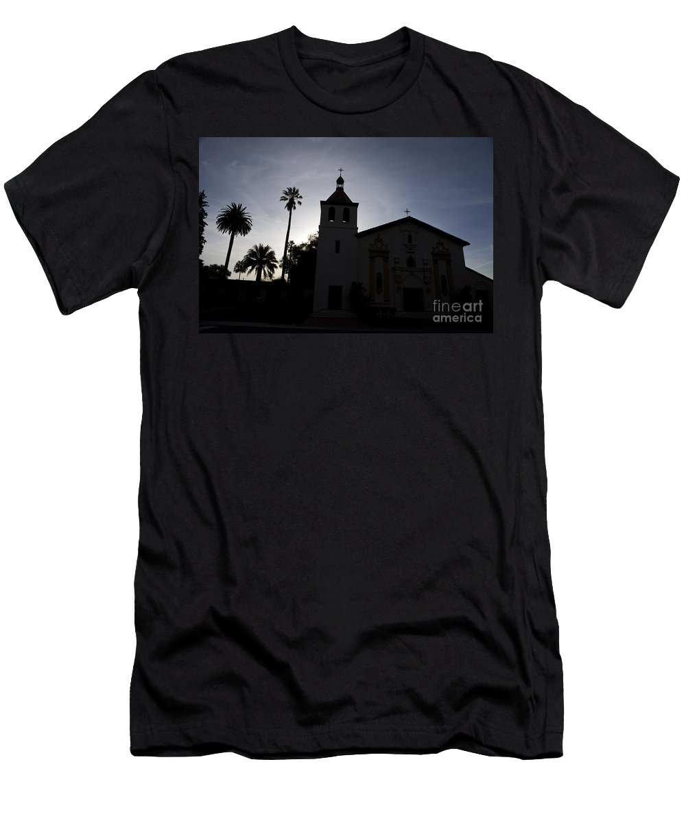 Travel Men's T-Shirt (Athletic Fit) featuring the photograph Silhouette Of Mission Santa Clara by Jason O Watson