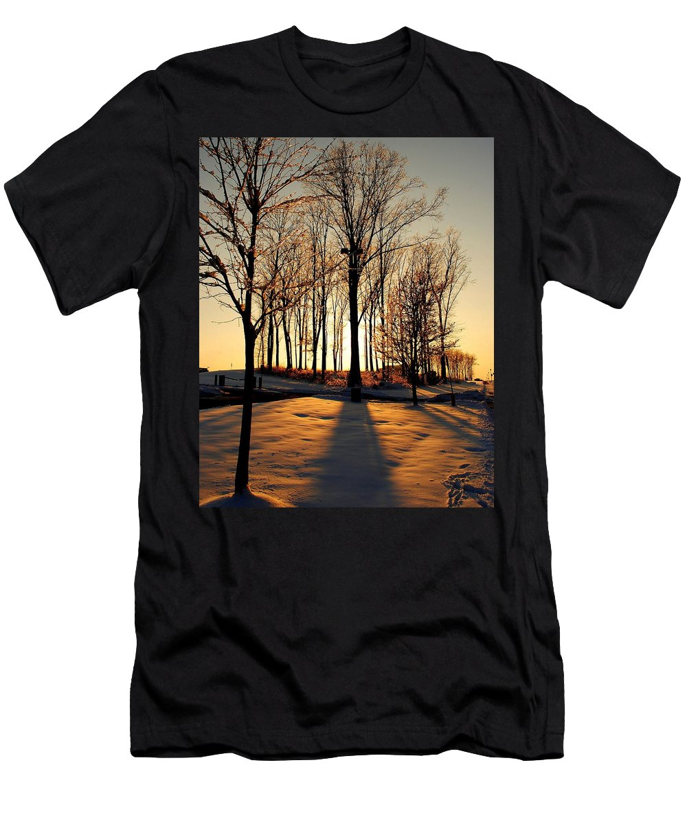 Silhouette Men's T-Shirt (Athletic Fit) featuring the photograph Silhouette Of Trees And Ice by Frozen in Time Fine Art Photography