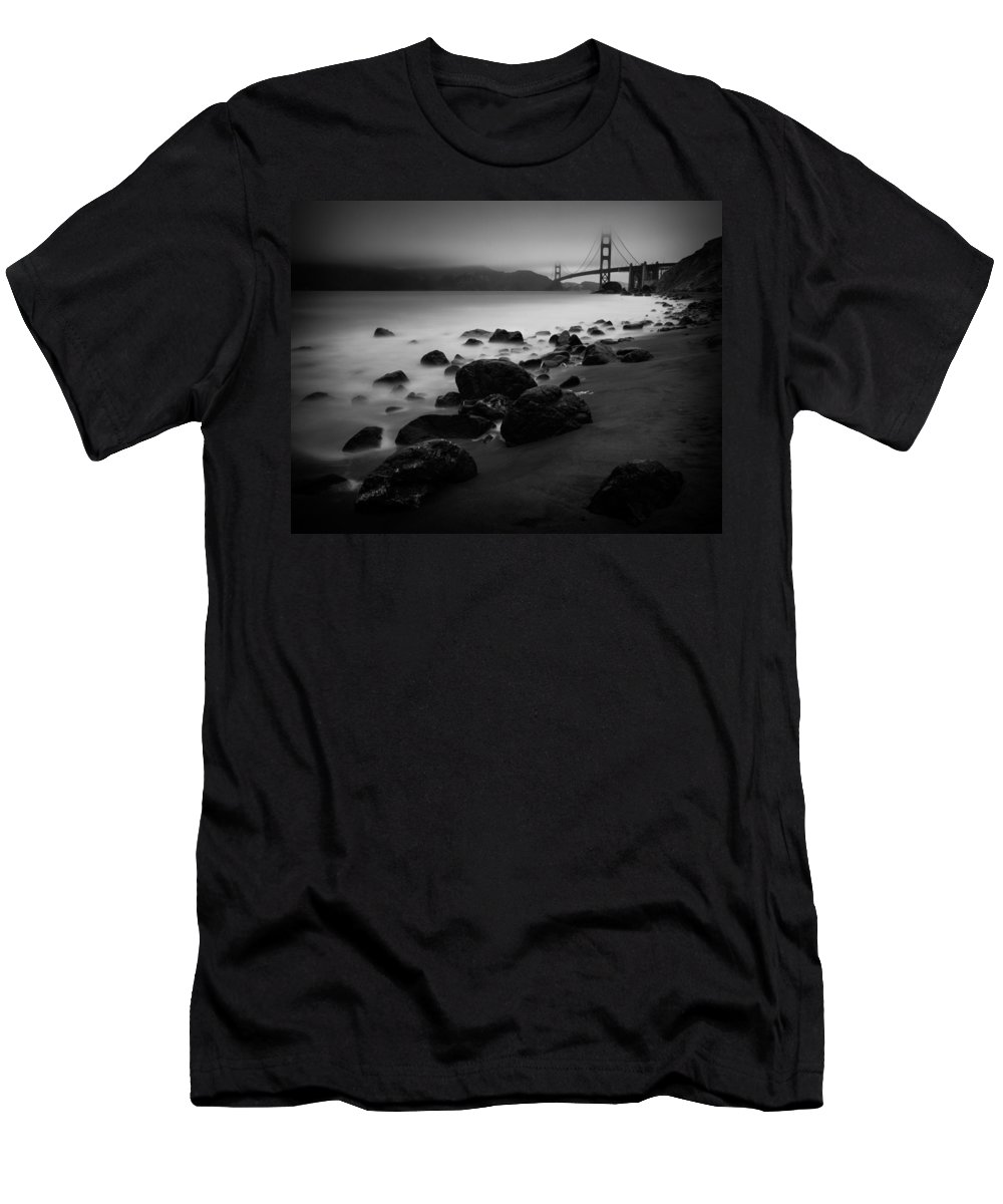 Golden Gate Men's T-Shirt (Athletic Fit) featuring the photograph Silver Gate by Dayne Reast