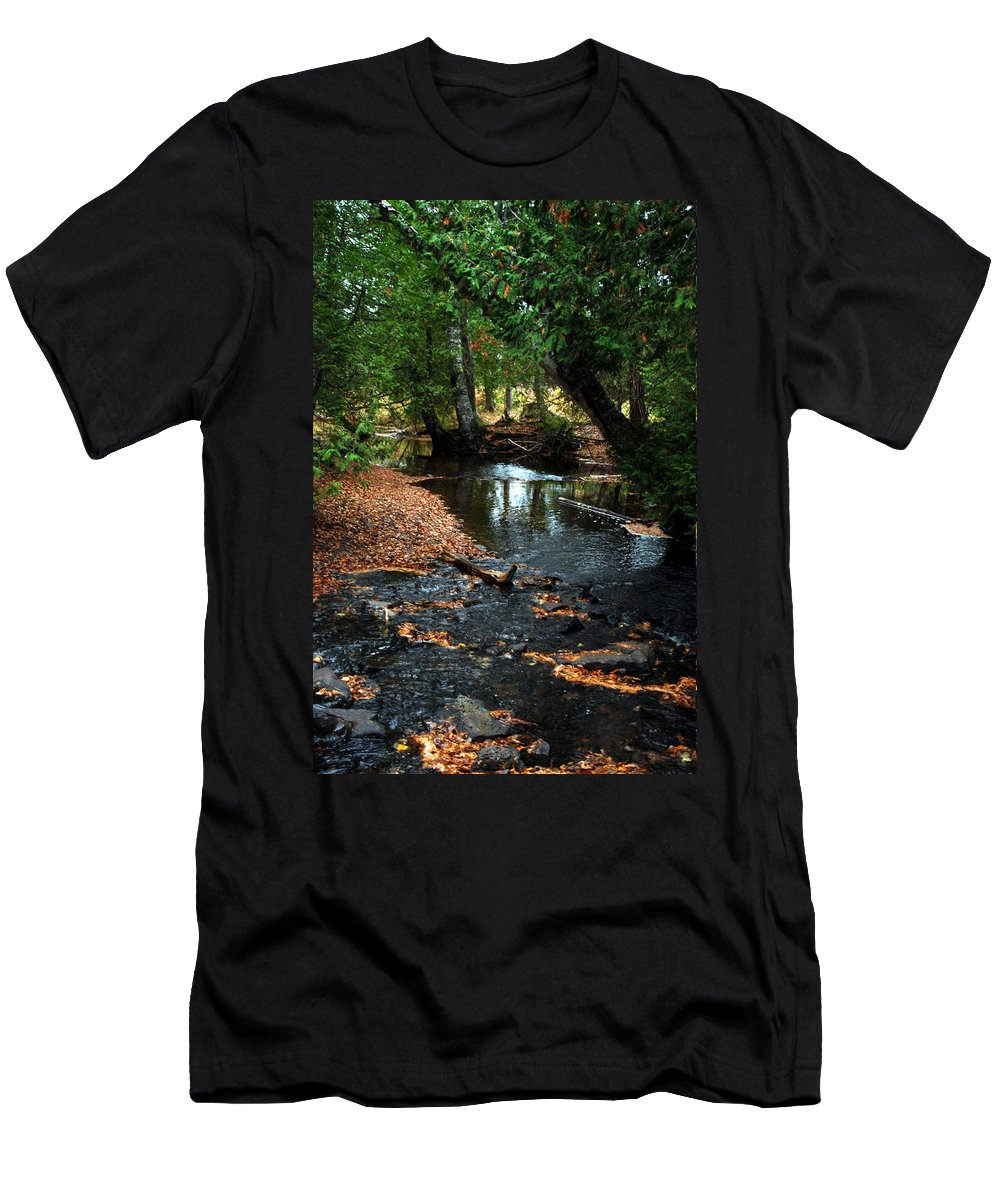 River Men's T-Shirt (Athletic Fit) featuring the photograph Silver River Channel In Autumn by Optical Playground By MP Ray