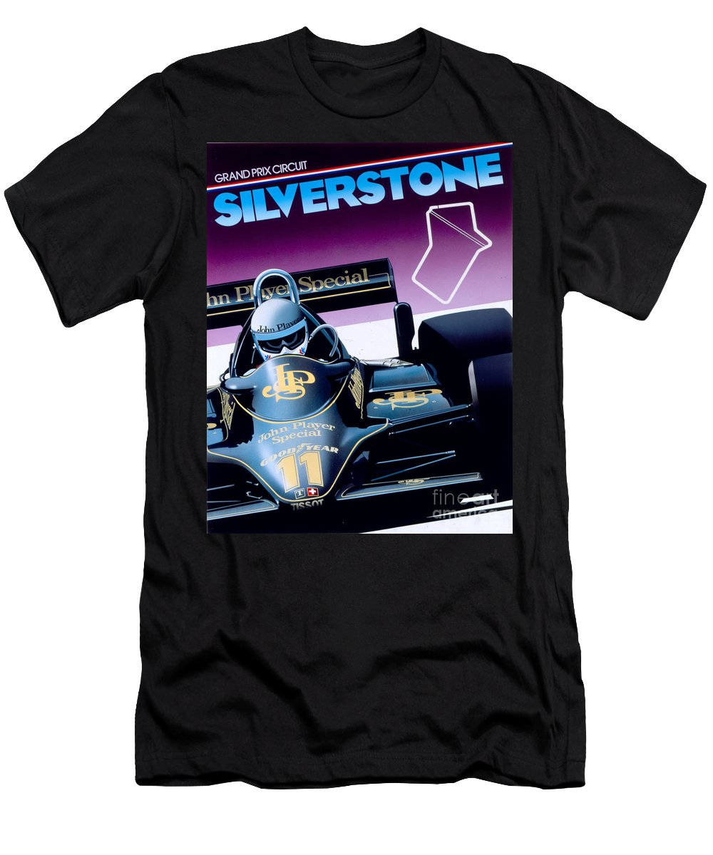 80's Men's T-Shirt (Athletic Fit) featuring the digital art Silverstone by MGL Meiklejohn Graphics Licensing