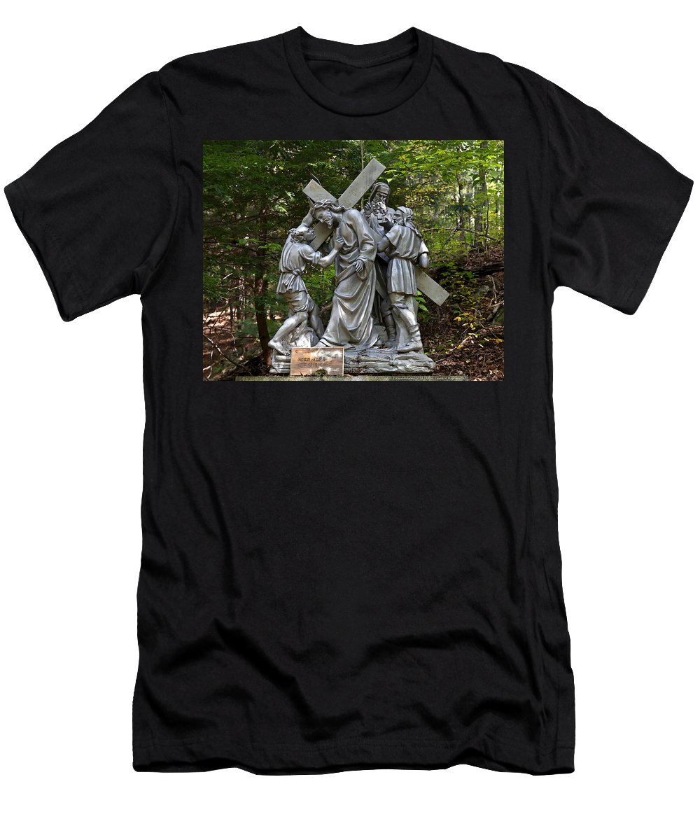 Angel Men's T-Shirt (Athletic Fit) featuring the photograph Simon Helps Jesus by Terry Reynoldson