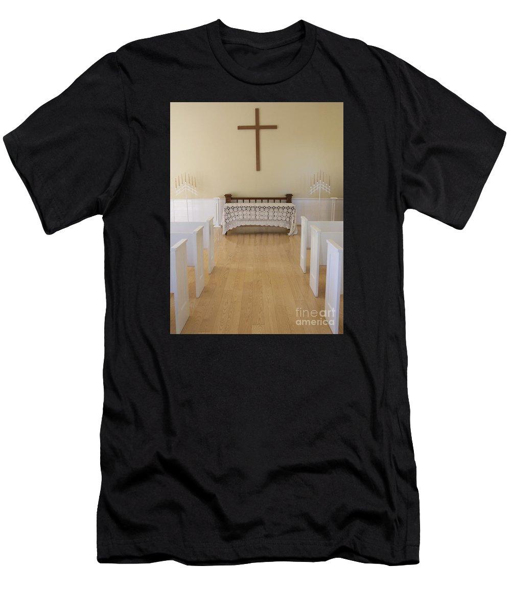 Chapel Men's T-Shirt (Athletic Fit) featuring the photograph Simple Sunlit Chapel by Ann Horn
