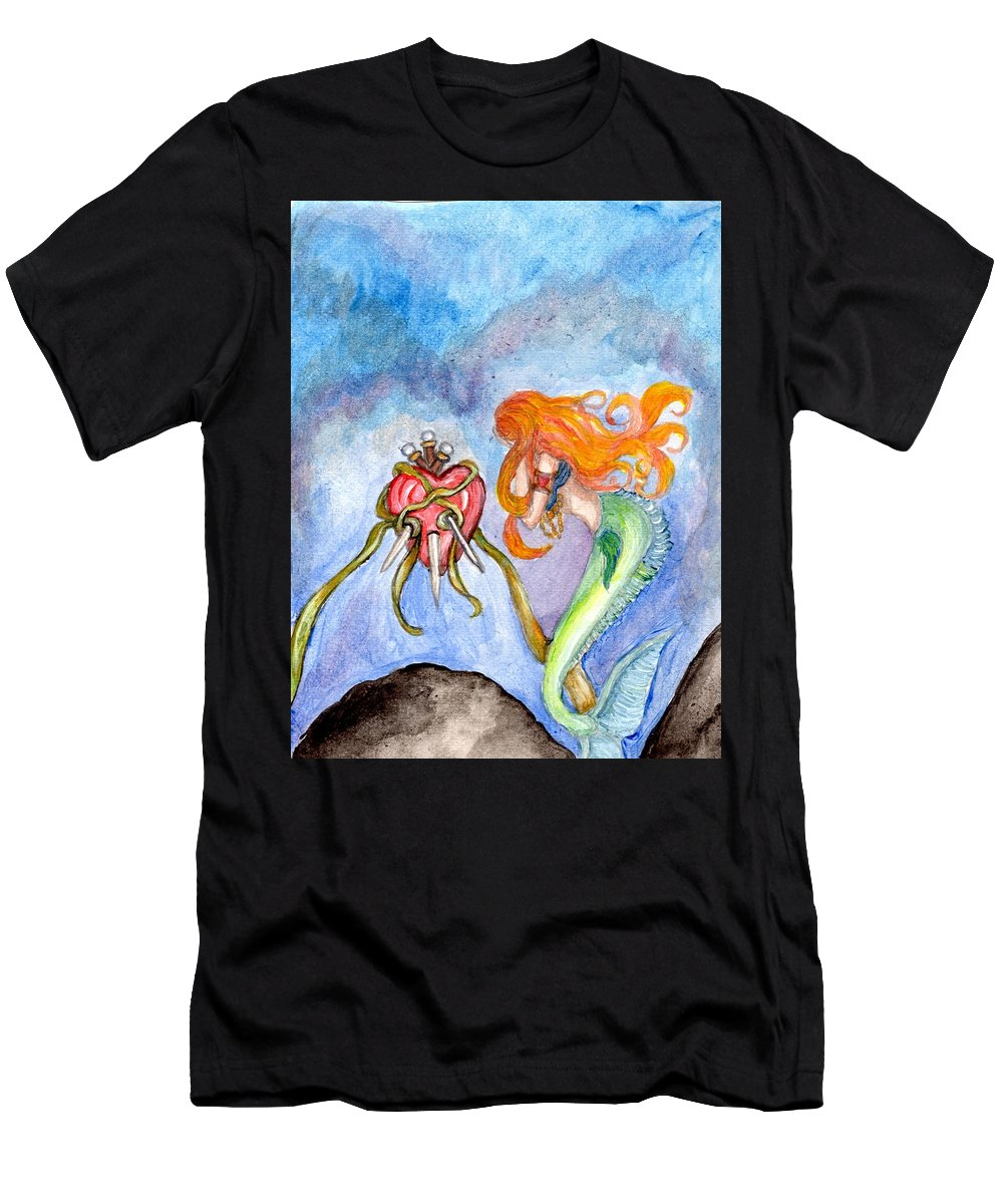 Sorrow Men's T-Shirt (Athletic Fit) featuring the painting Sindaria Of The Seven Sorrows by Janice T Keller-Kimball