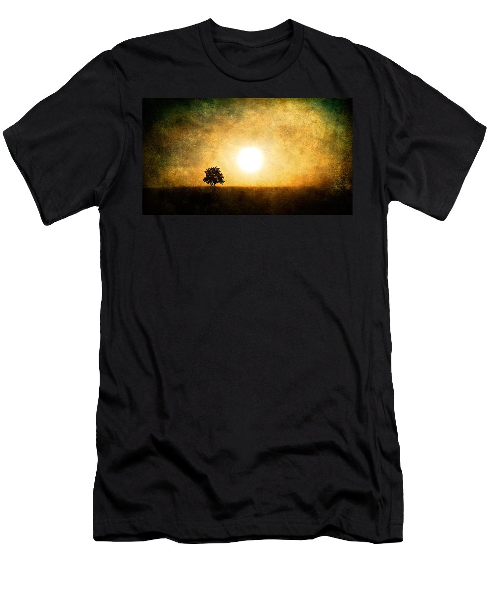Landscape Men's T-Shirt (Athletic Fit) featuring the photograph Sing In Silence by Roman Solar