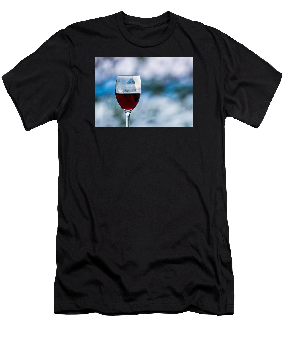 Red Men's T-Shirt (Athletic Fit) featuring the photograph Single Glass Of Red Wine On Blue And White Background by Photographic Arts And Design Studio