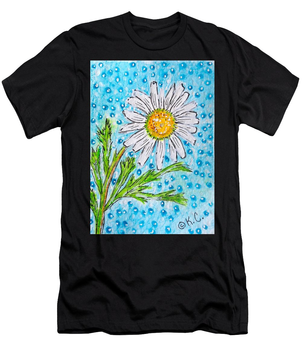 Daisy Men's T-Shirt (Athletic Fit) featuring the painting Single Summer Daisy by Kathy Marrs Chandler