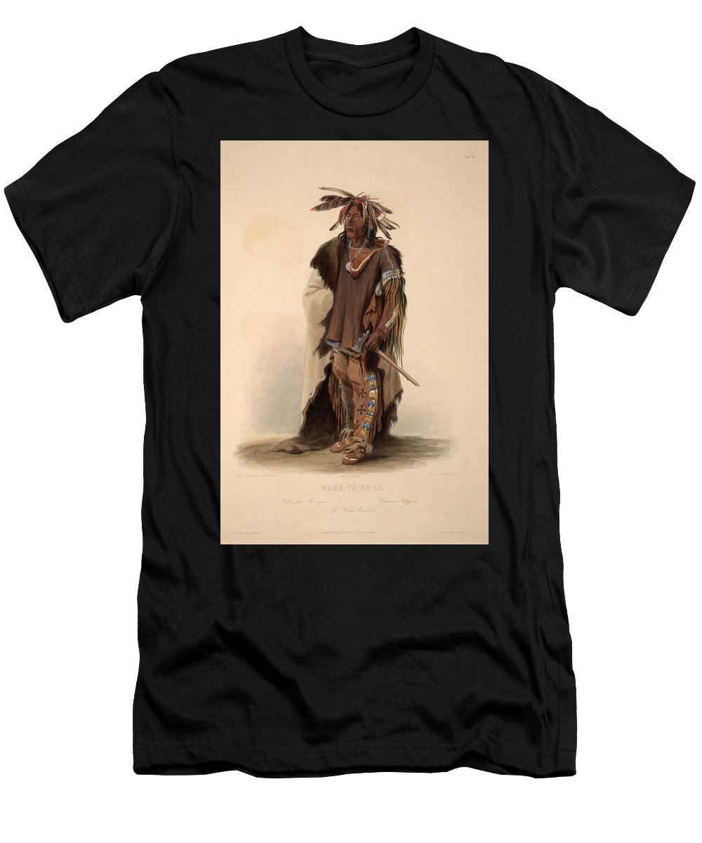 Karl Bodmer Men's T-Shirt (Athletic Fit) featuring the painting Sioux Warrior by Karl Bodmer