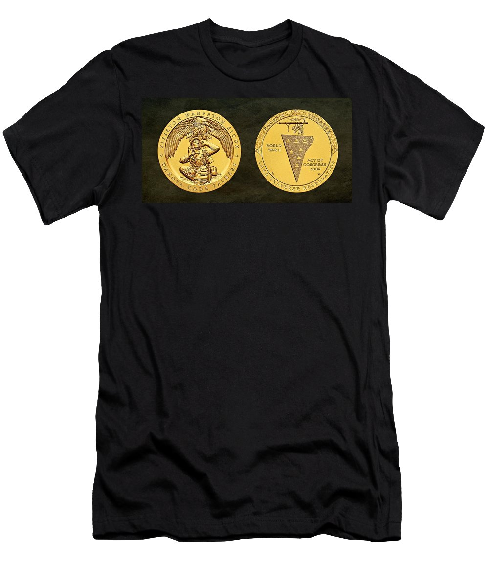 Sisseton Wahpeton Oyate Men's T-Shirt (Athletic Fit) featuring the photograph Sisseton Wahpeton Oyate Sioux Tribe Code Talkers Bronze Medal Art by Movie Poster Prints