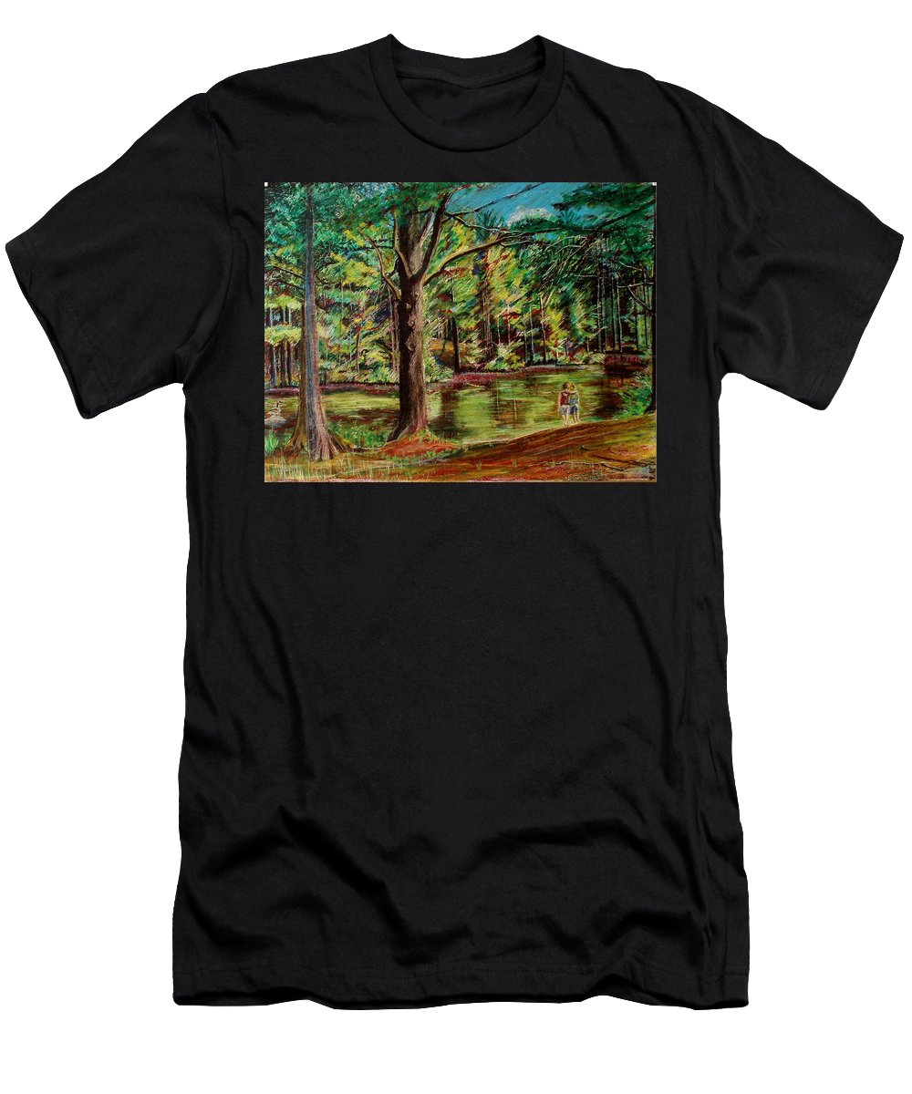 New Hampshire Men's T-Shirt (Athletic Fit) featuring the pastel Sisters At Wason Pond by Sean Connolly