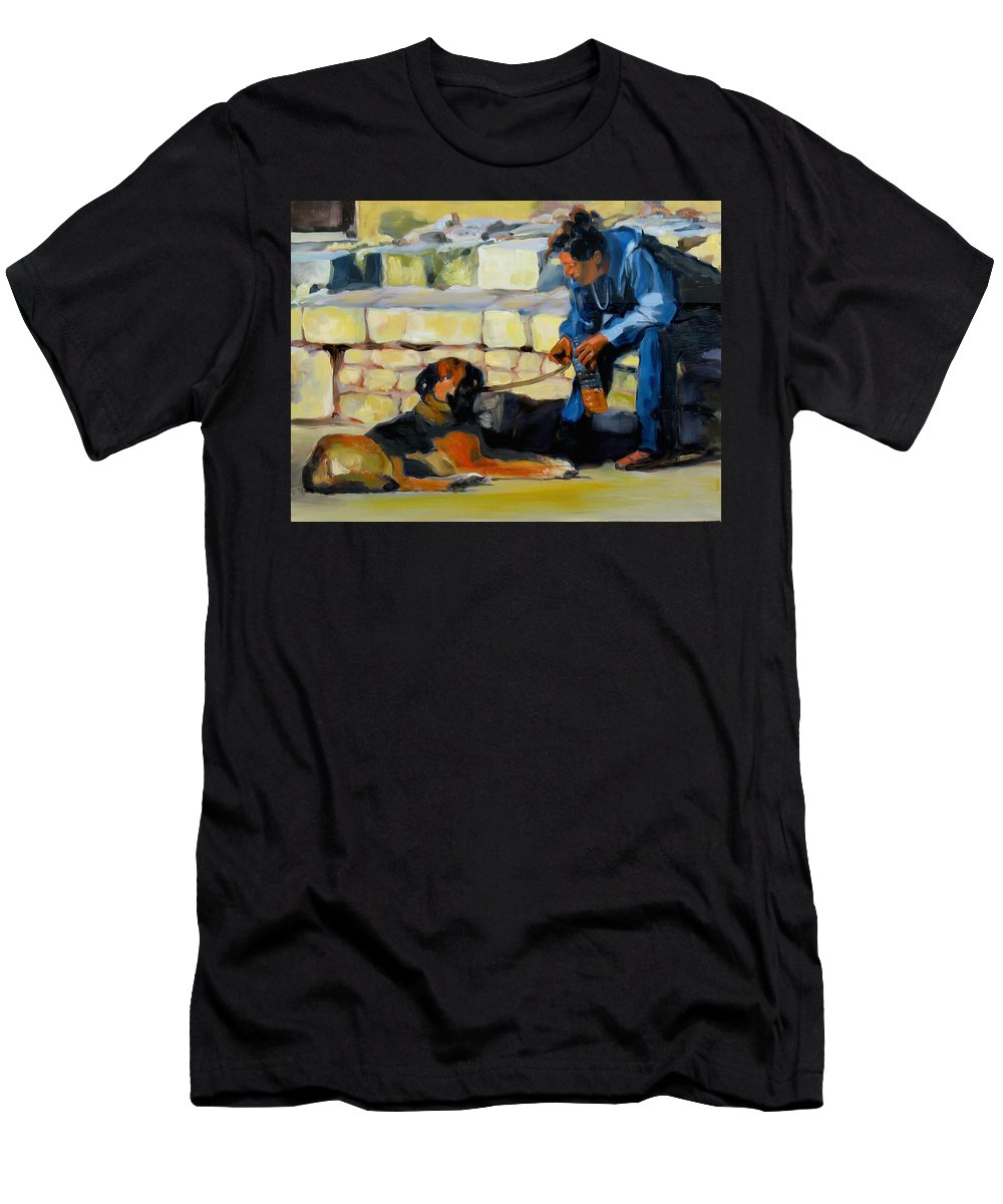 Oil Painting Men's T-Shirt (Athletic Fit) featuring the painting Sitting With A Dog by Dominique Amendola