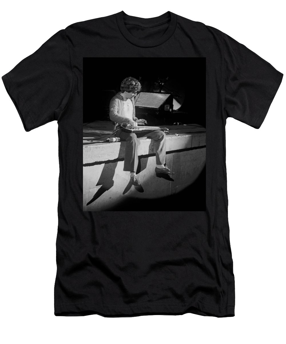 Sammy Hagar Men's T-Shirt (Athletic Fit) featuring the photograph Sitting On The Front Of The Stage 1977 by Ben Upham