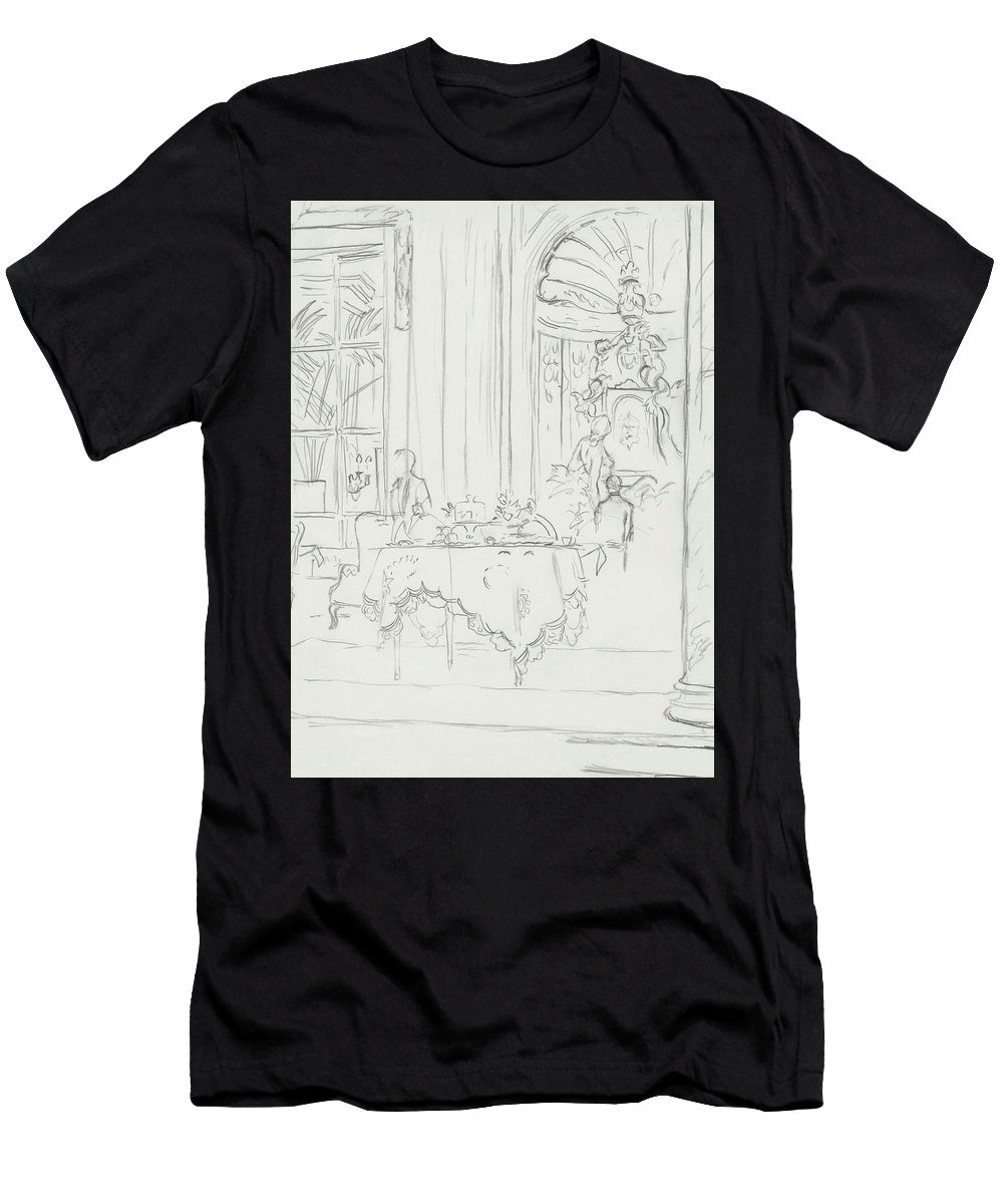 Architecture Men's T-Shirt (Athletic Fit) featuring the digital art Sketch Of A Formal Dining Room by Carl Oscar August Erickson