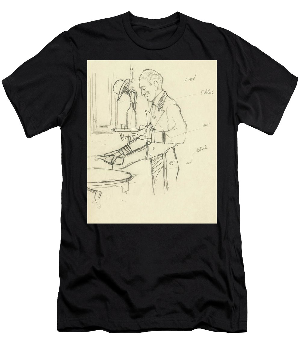 Food Men's T-Shirt (Athletic Fit) featuring the digital art Sketch Of Waiter Pouring Wine by Carl Oscar August Erickson