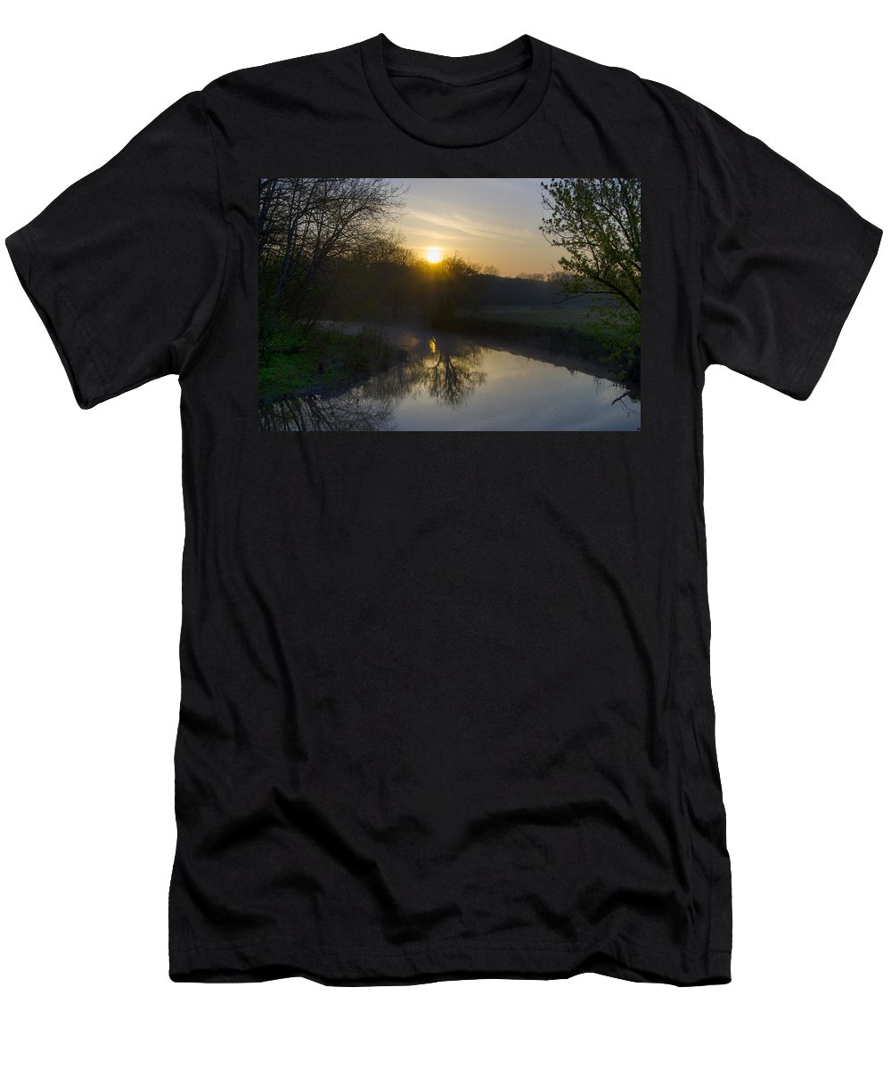 Skippack Men's T-Shirt (Athletic Fit) featuring the photograph Skippack Creek Sunrise by Bill Cannon