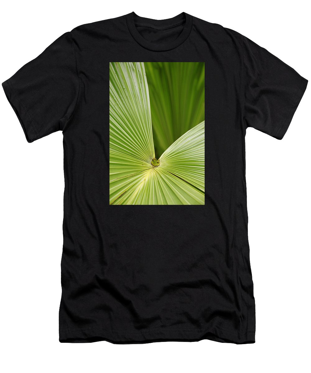 Abstract Men's T-Shirt (Athletic Fit) featuring the photograph Skc 0691 Paths Of Palm Meeting At A Point by Sunil Kapadia