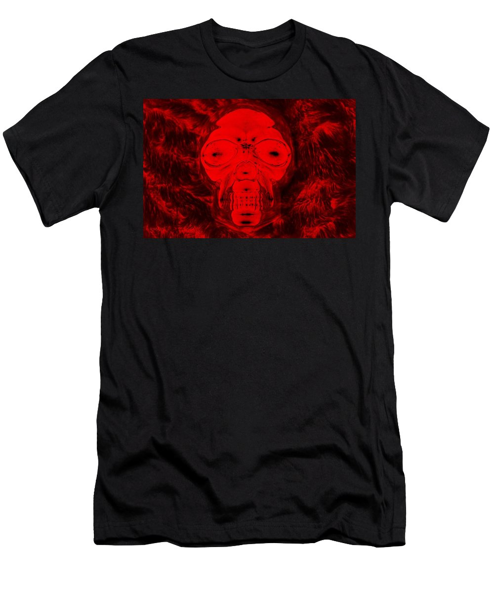 Skull Men's T-Shirt (Athletic Fit) featuring the photograph Skull In Negative Red by Rob Hans