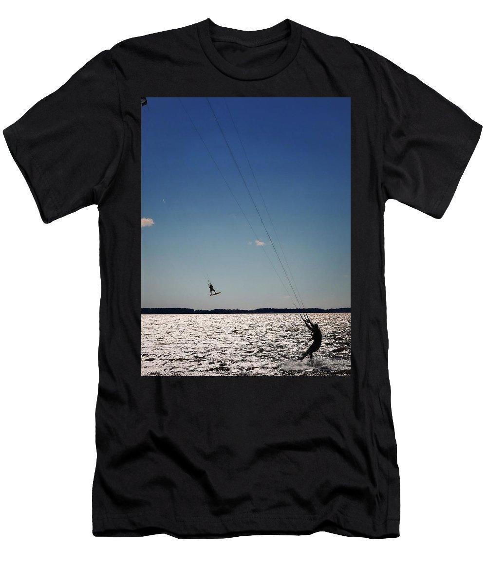 Kiteboarding Men's T-Shirt (Athletic Fit) featuring the photograph Sky Jockey by Robert McCubbin