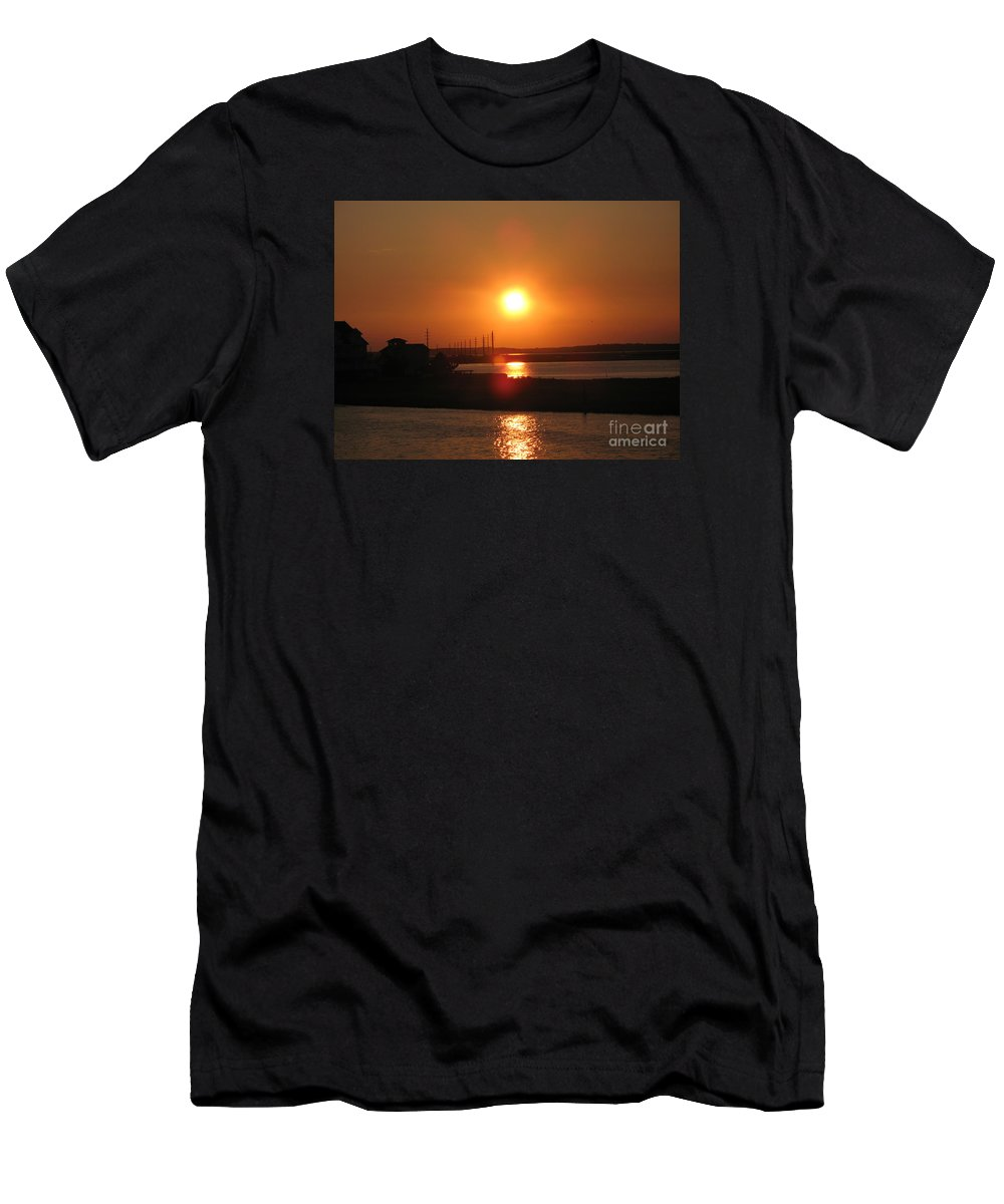 Sunset Men's T-Shirt (Athletic Fit) featuring the photograph Sky On Fire Over Chincoteague Island by Christiane Schulze Art And Photography