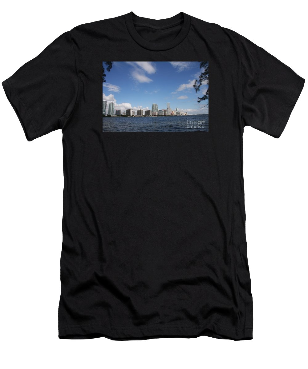 Miami Men's T-Shirt (Athletic Fit) featuring the photograph Skyline Miami by Christiane Schulze Art And Photography