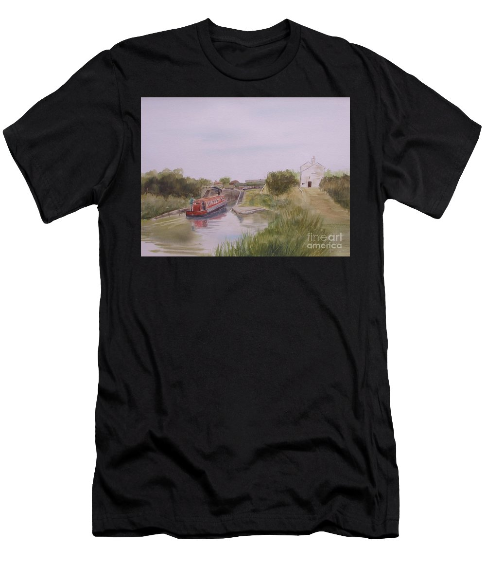 Impressionism Men's T-Shirt (Athletic Fit) featuring the painting Slapton Lock by Martin Howard