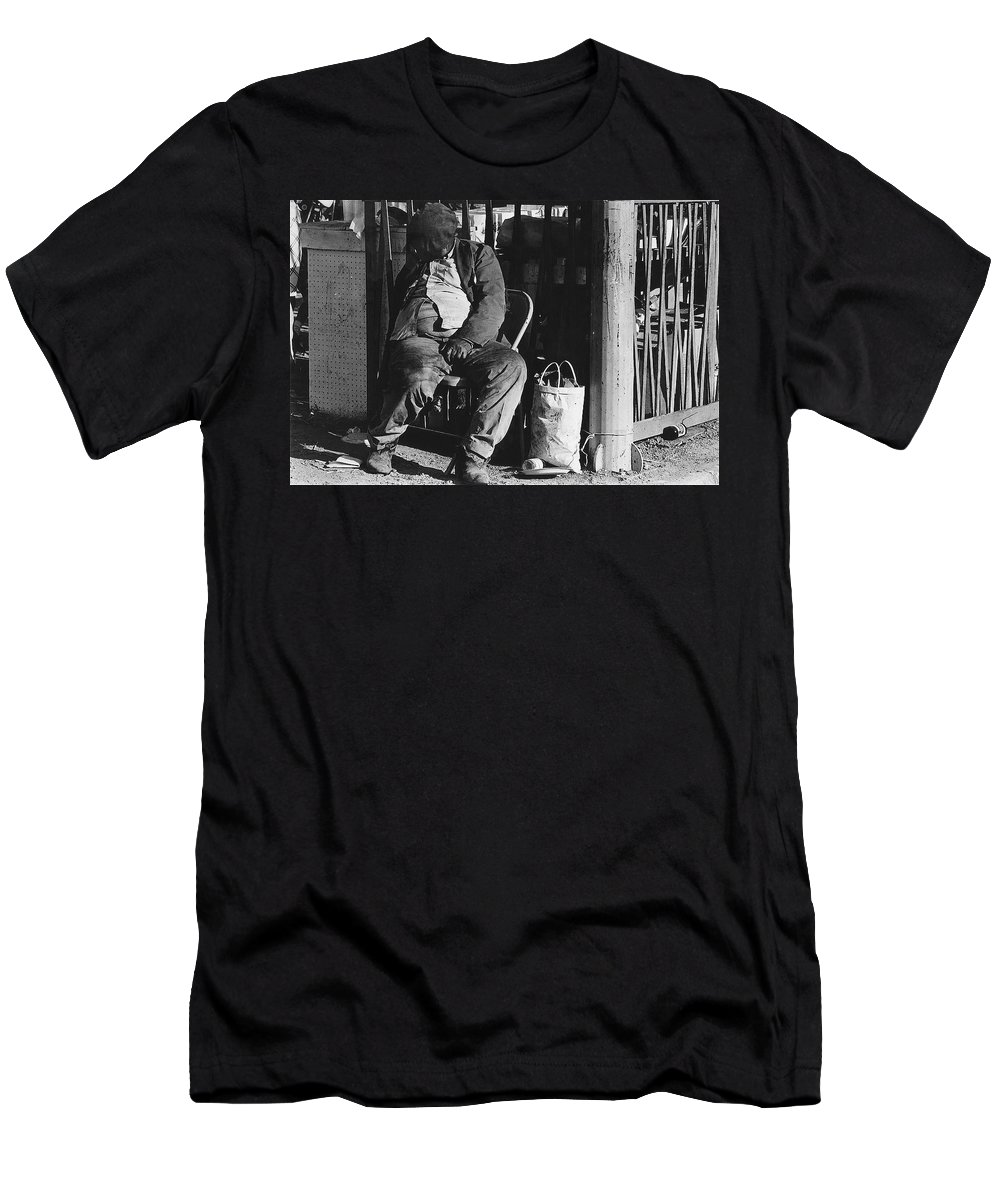 Sleeping Bagman El Bulla Up The Block From Pancho Villa Bar Nogales Sonora 1968 Men's T-Shirt (Athletic Fit) featuring the photograph Sleeping Bagman El Bulla Up The Block From Pancho Villa Bar Nogales Sonora 1968 by David Lee Guss