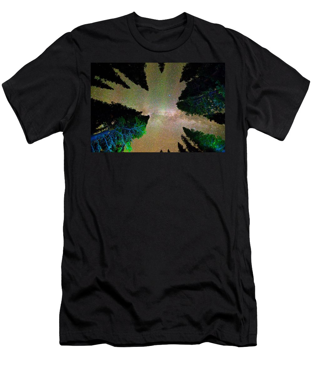 Milky Way Men's T-Shirt (Athletic Fit) featuring the photograph Sleeping Under The Milky Way Stars by James BO Insogna
