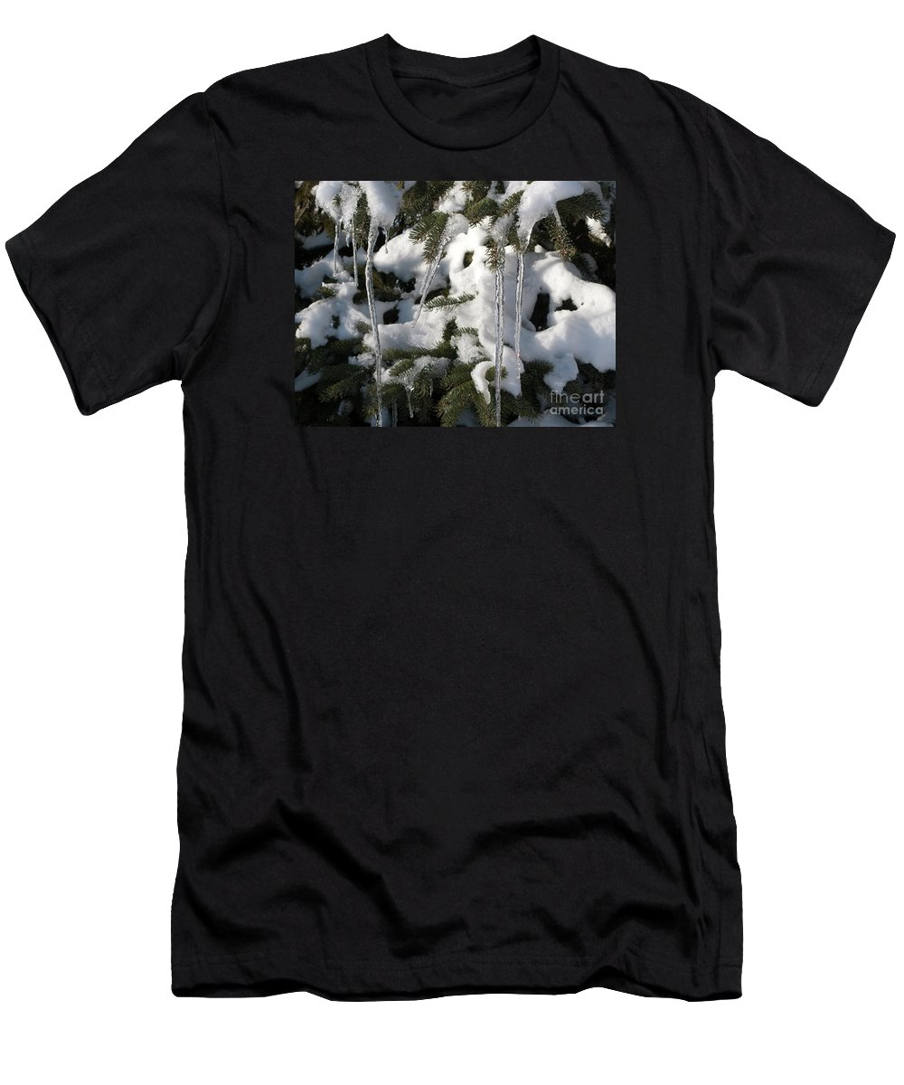 Winter Men's T-Shirt (Athletic Fit) featuring the photograph Slow Snow Melt by Ann Horn