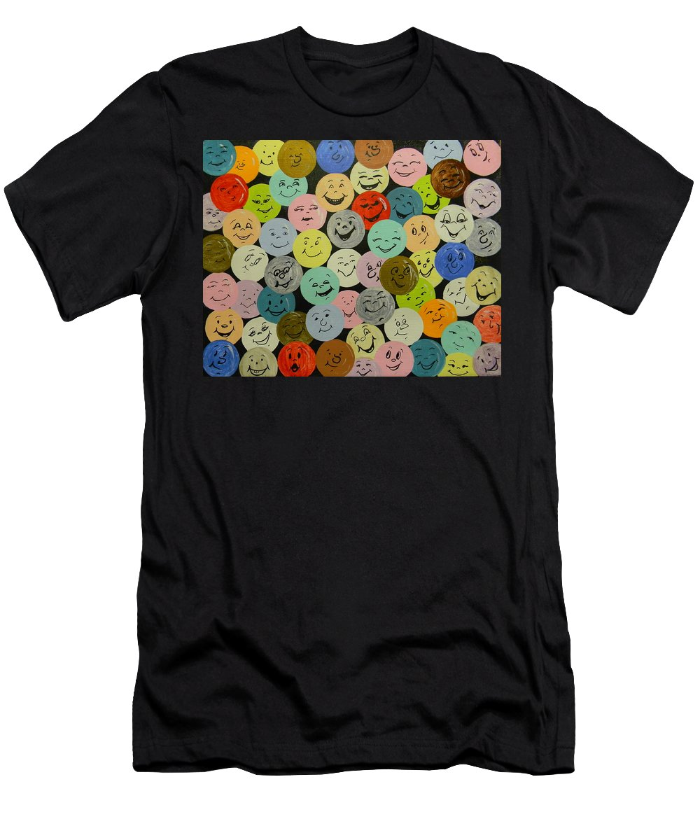 Smile Men's T-Shirt (Athletic Fit) featuring the painting Smilies by Bertie Edwards