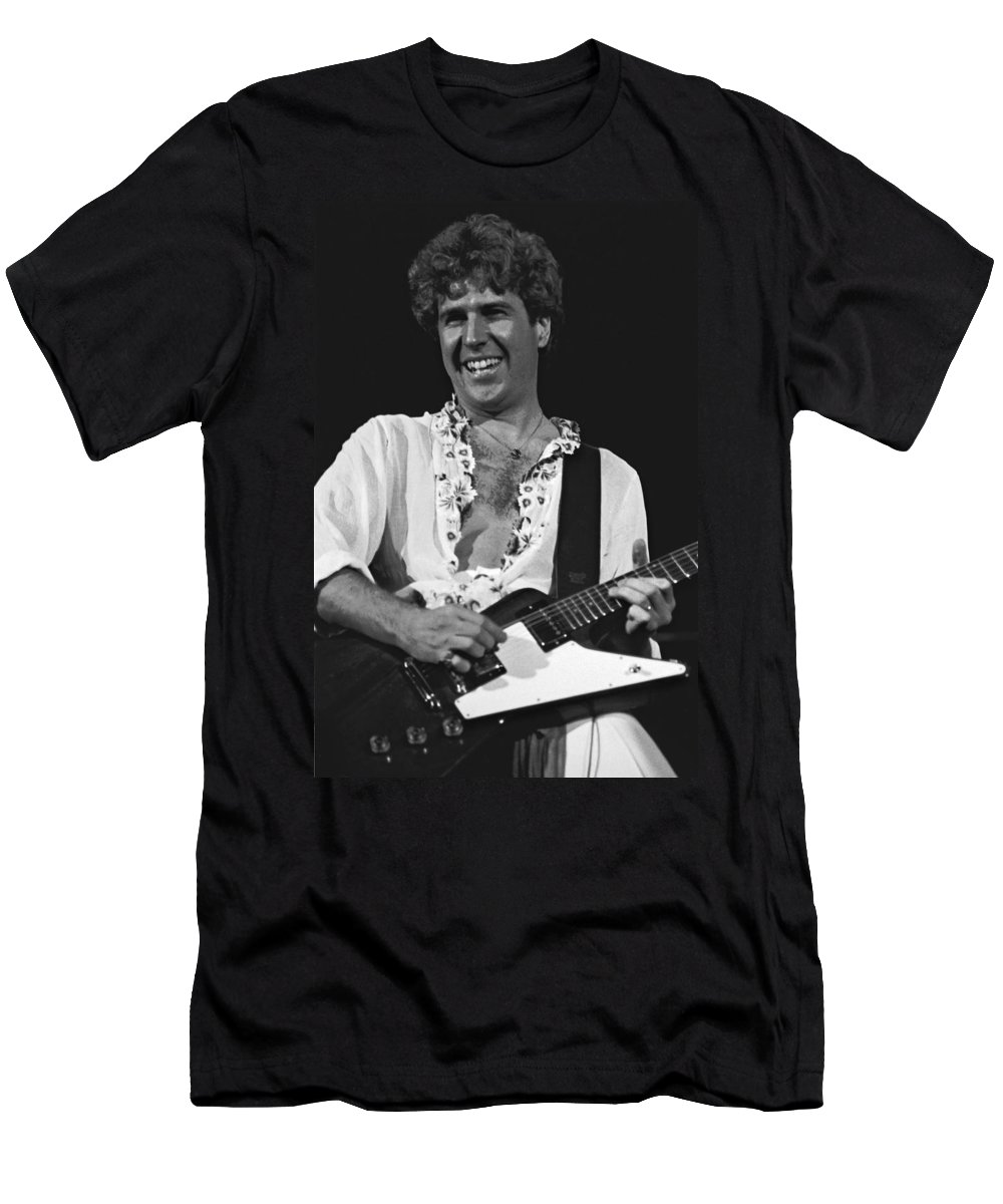 Sammy Hagar Men's T-Shirt (Athletic Fit) featuring the photograph Smiling Sammy In Oakland 12-31-77 by Ben Upham