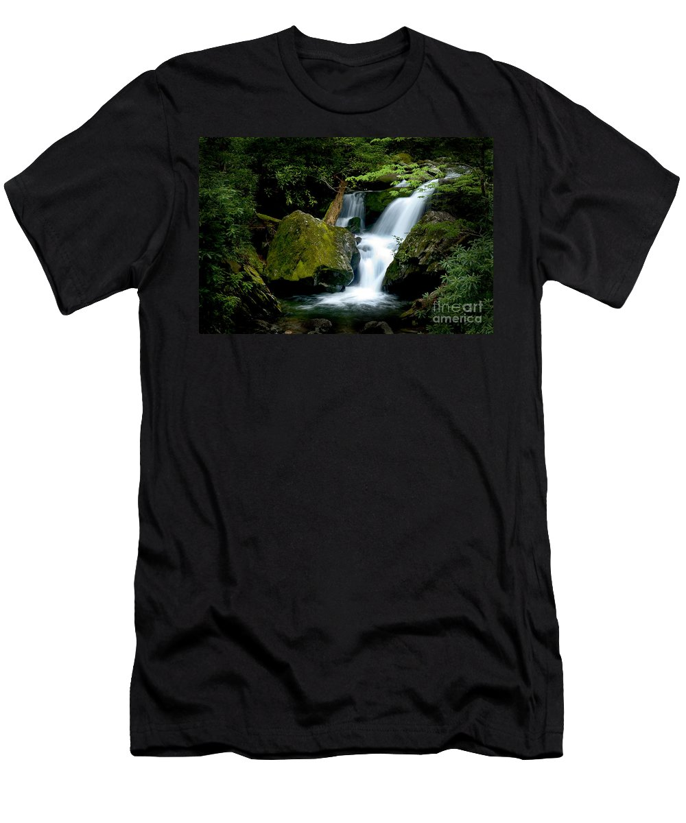 Water Men's T-Shirt (Athletic Fit) featuring the photograph Smoky Mountain Falls by Paul W Faust - Impressions of Light