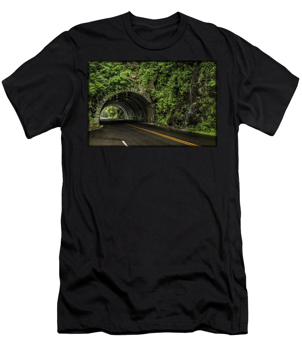 Tunnel Men's T-Shirt (Athletic Fit) featuring the photograph Smoky Mountain Tunnel In The Rain E123 by Wendell Franks